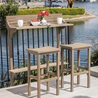Overstock.com: Online Shopping - Bedding, Furniture, Electronics, Jewelry, Clothing & more #balconybar Caribbean Outdoor 3-piece Acacia Wood Balcony Bar Set by Christopher Knight Home (Grey), Brown #balconygarden #balconybar