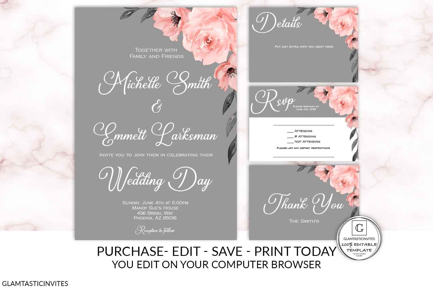 Red Rose Gray Wood Wedding Invitation Printable Wedding Template Rustic Country Farmhouse Wedding Wedding Kit Quick Turnaround Rose Wedding Invitation Packages Wood Wedding Invitations Printable Wedding Invitations