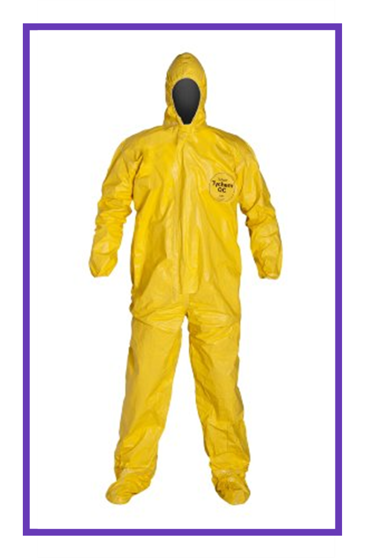 DuPont Tychem QC122T Fabric Coverall with Hood, Elastic