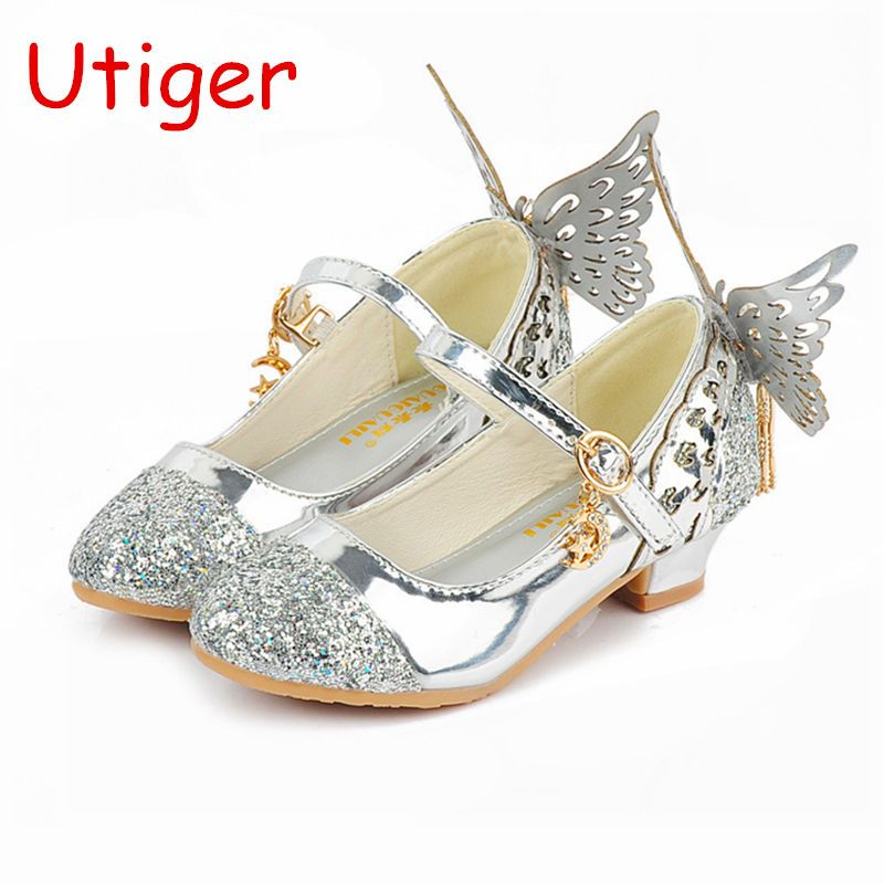 Child Girls Princess Shoes Sandals Kids Glitter Butterfly Shoes Low Heel Baby Children Wedding Shoe G Kids Wedding Shoes Butterfly Shoes Wedding Shoes Low Heel