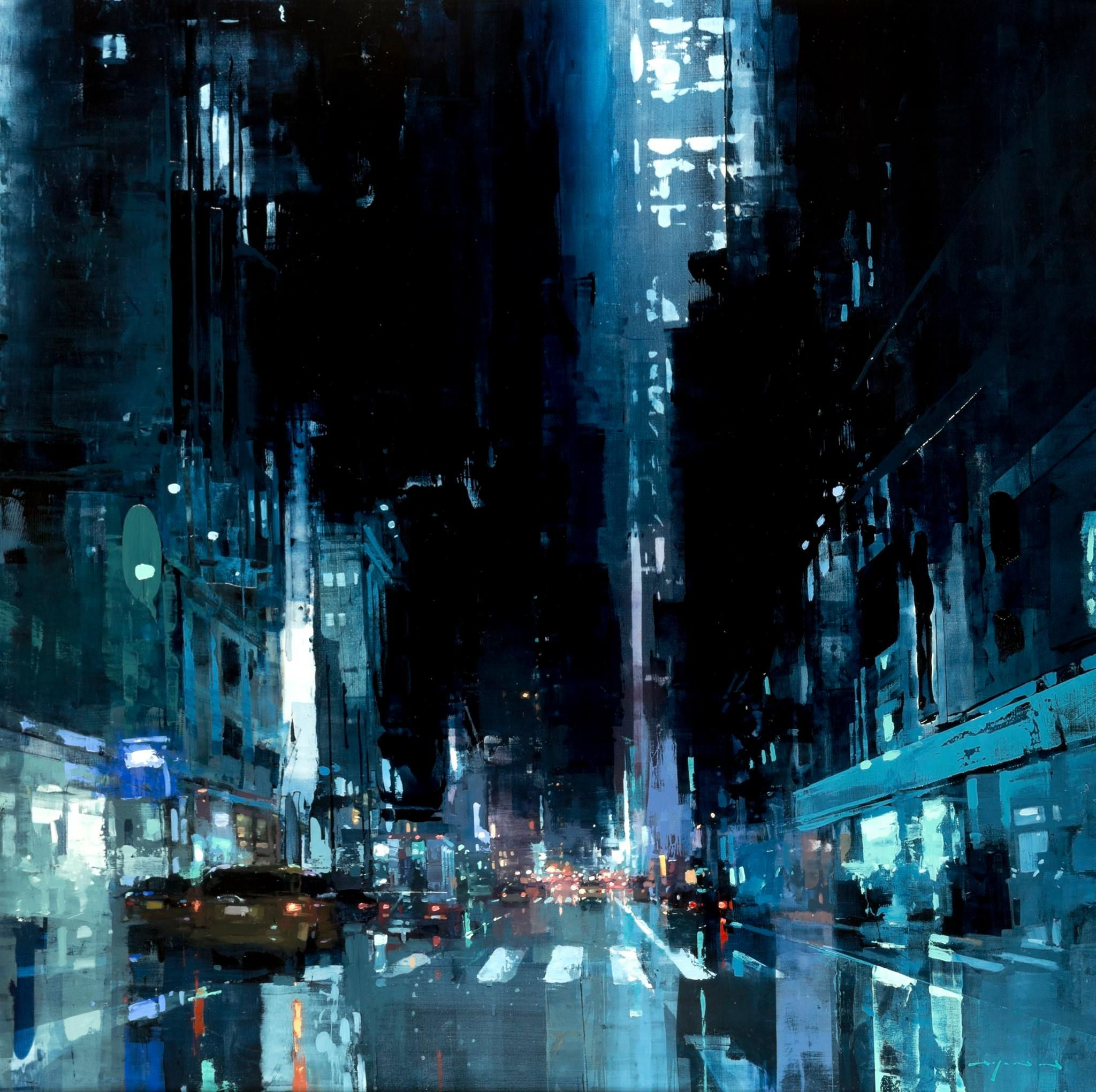 "Jeremy Mann - Artist ""NYC 18"" 48 x 48 inches Oil on Panel  On view at the upcoming solo show at Principle Gallery next friday, November 13th, with a live demo following the next day, Saturday the 14th, as well as books for sale and signing, drinks and other hullaballoo."