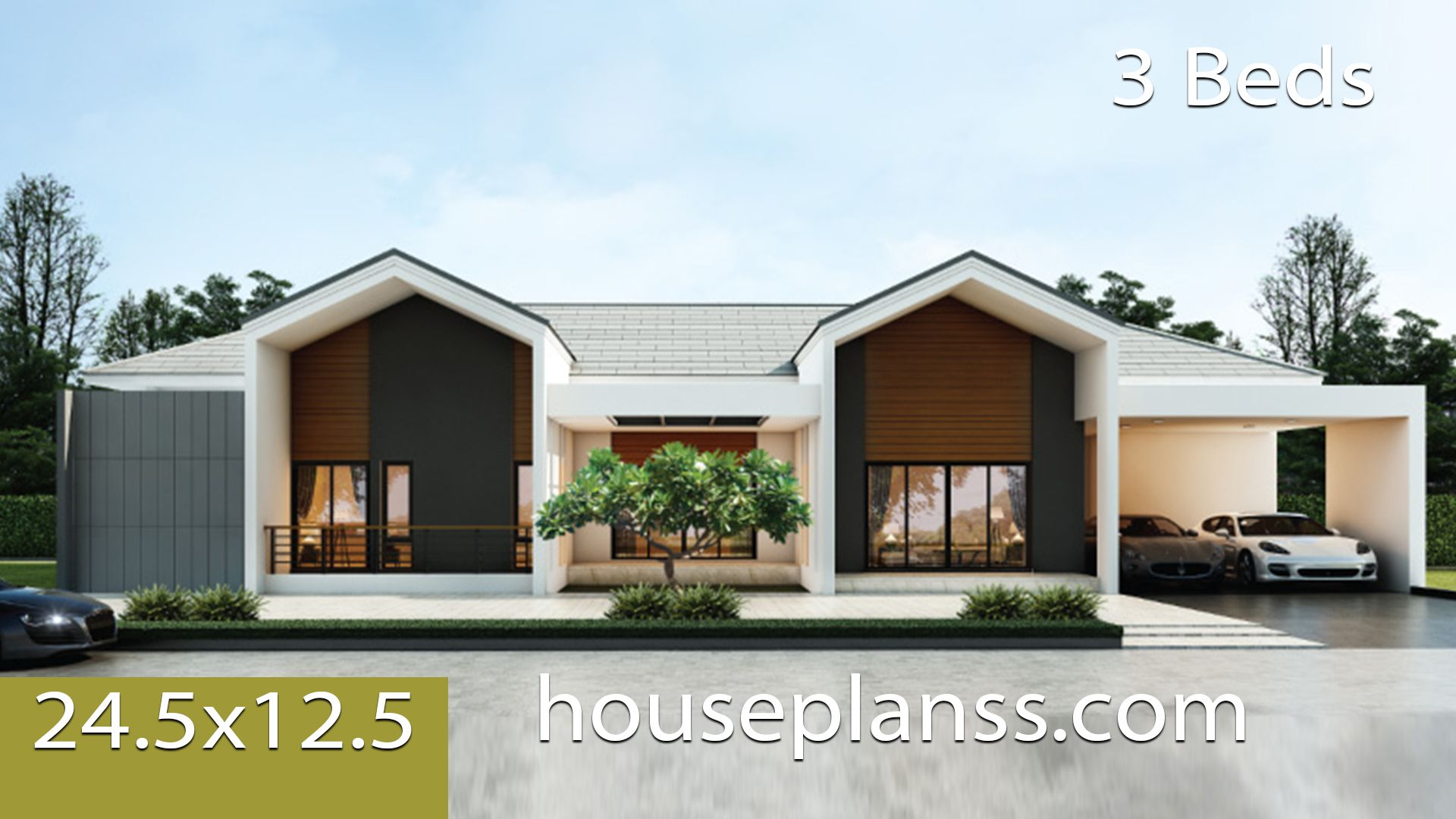 House Design Idea 24 5x12 5 With 3 Bedrooms House Plans 3d In 2020 House Plans House Design House