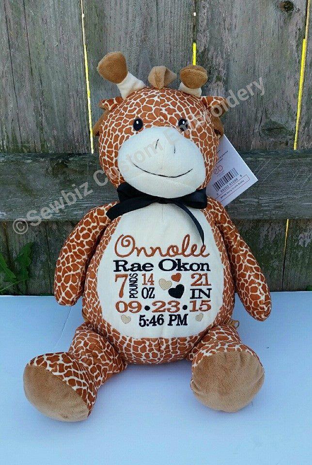 Gerry Giraffe Buddy Personalized Stuffed Animal Baby Gift Birth