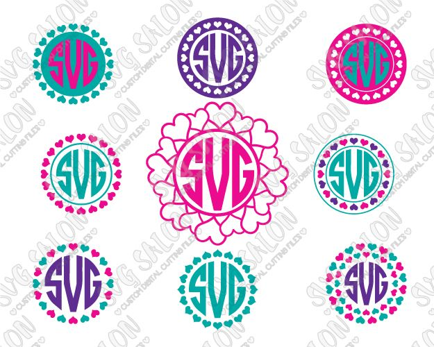 Valentine S Day Heart Circle Monogram Cut File Set In Svg Eps Dxf