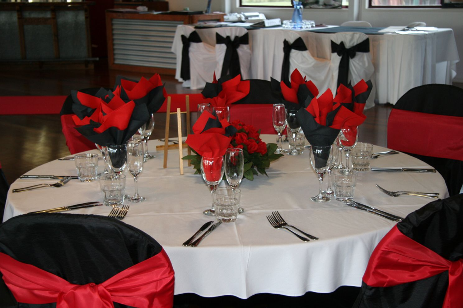 Blacke And White Tables With Red Red Black White Wedding