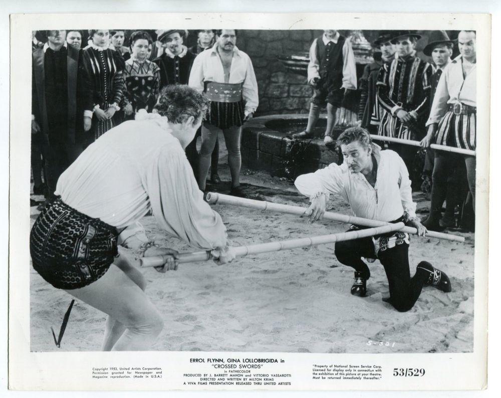"Crossed Swords 8""x10"" Black and White Promotional Still Errol Flynn FN"