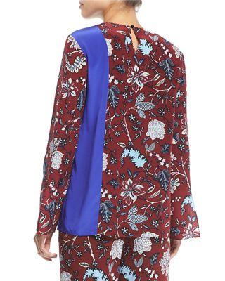 18f12fa284d18 Diane von Furstenberg Floral-Print Side-Slit Silk Blouse