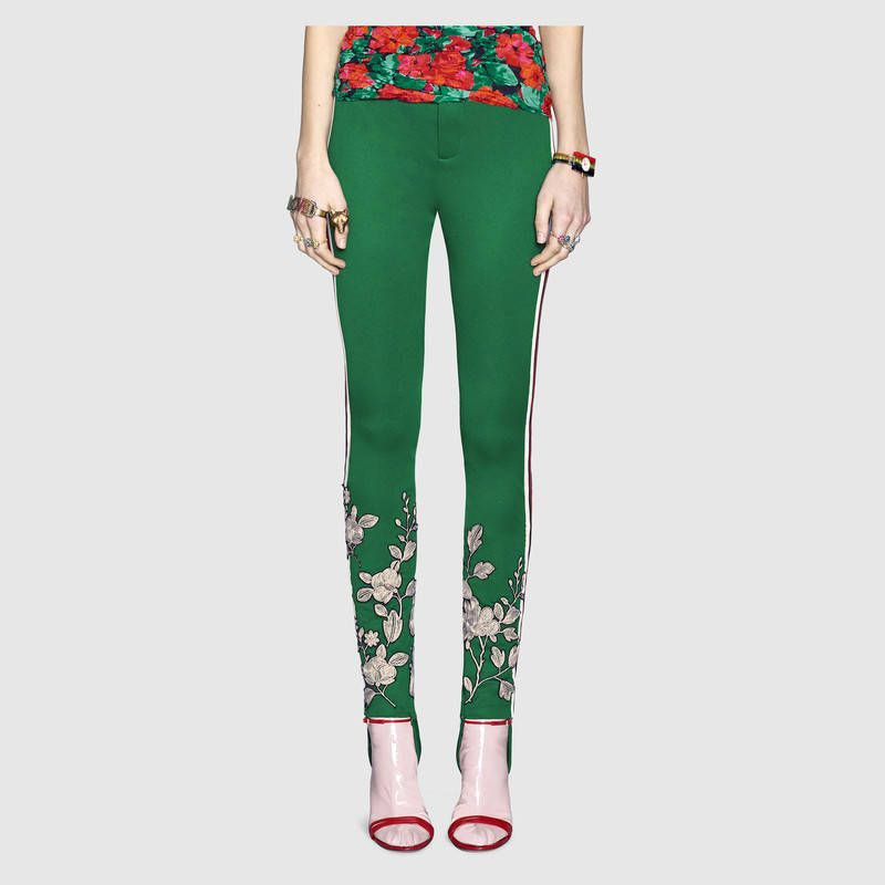 63a49b7f7d6 GUCCI kelly green floral embroidered jersey stirrup legging ––  1800 ...