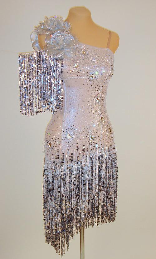 Latin Dress - FOR SALE - Silver Metallic Latin Ballroom Dress ...