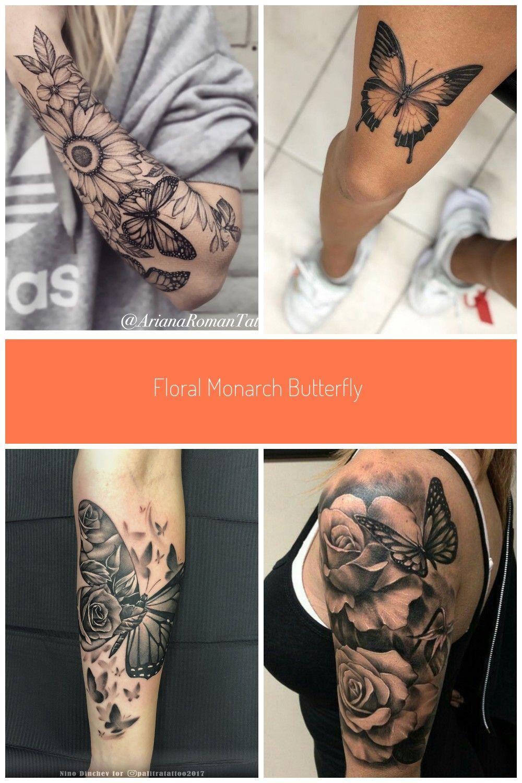 Photo of Blumen Monarchfalter Sonnenblume halbe Ärmel #butterfly Tattoo Ärmel Blumen h …