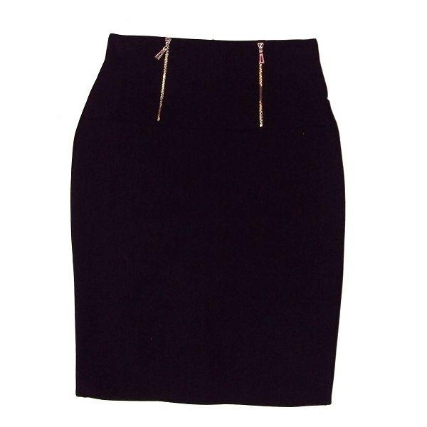 a39605a820 Falda de tubo negra de punto elástico con fajín de cremalleras para un look  muy elegante