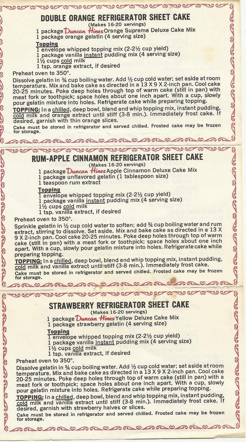 Double Orange Refrigerator Sheet Cake ~ Rum Apple Cinnamon Refrigerator Sheet Cake ~ Strawberry Refrigerator Sheet Cake