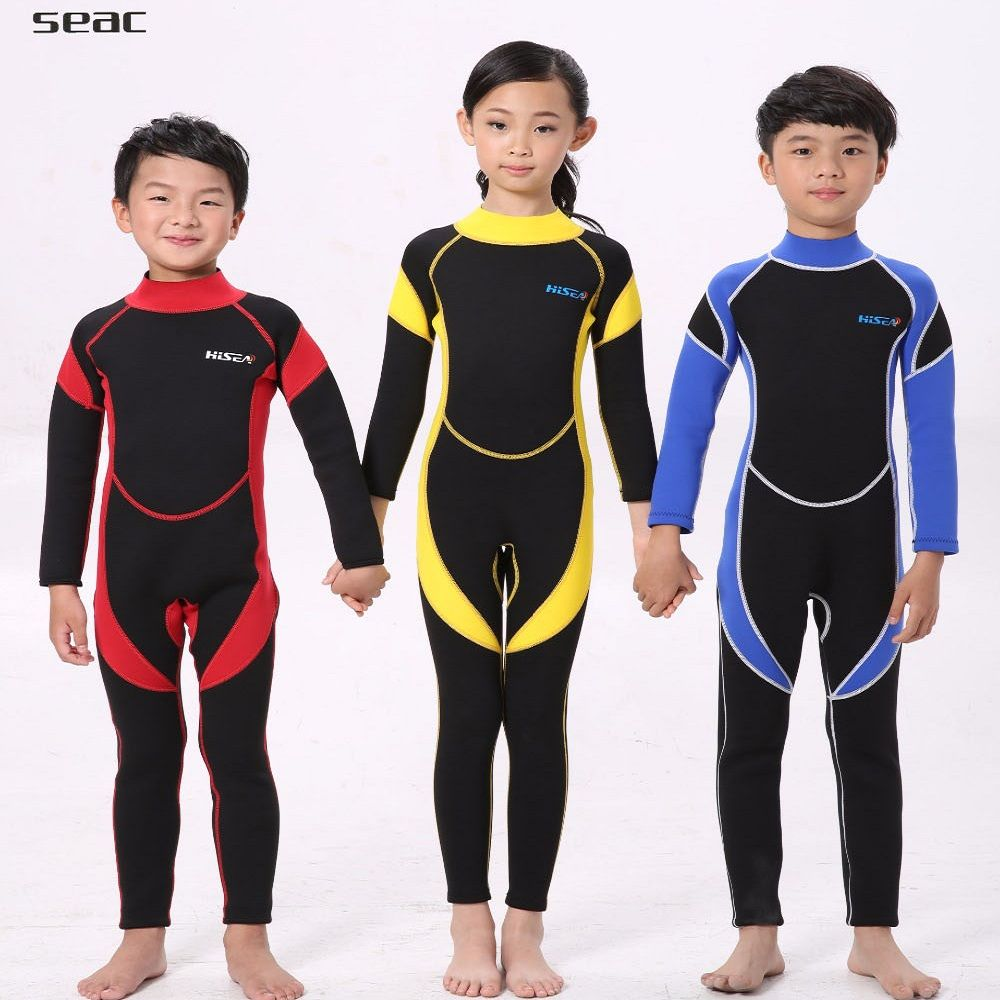 f13b9a6be 2.5MM Warm Neoprene Wetsuits Kids Swimwears Diving Suits Long Sleeves  wetsuit Boys Girls Surfing Rash Guards One Pieces DCO