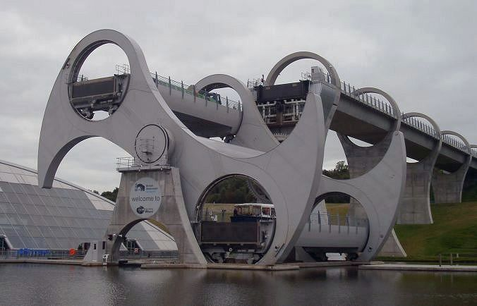 "Falkirk, Scotland where 2 levels of a river meet, so the ""Falkirk Wheel"" raises and lowers the boats up and down!"