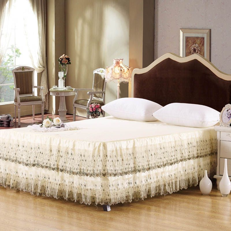 Cotton Bed Skirts Sale Lace Bed Skirt Queen Ruffled Bedspread Set