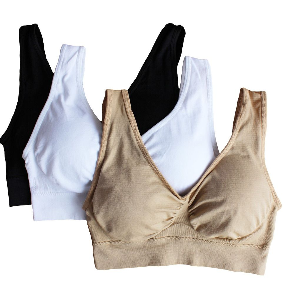 Cabales Women/'s 3-Pack Seamless Wireless Sports Bra with Removable Pads X-Large