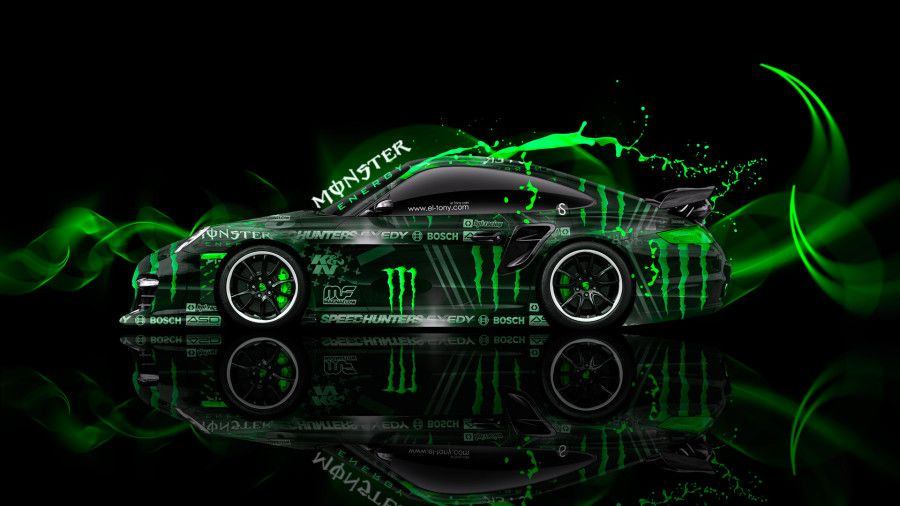 monster energy porsche 911 gt2 side plasitc car 2014 green colors hd wallpapers design by tony. Black Bedroom Furniture Sets. Home Design Ideas