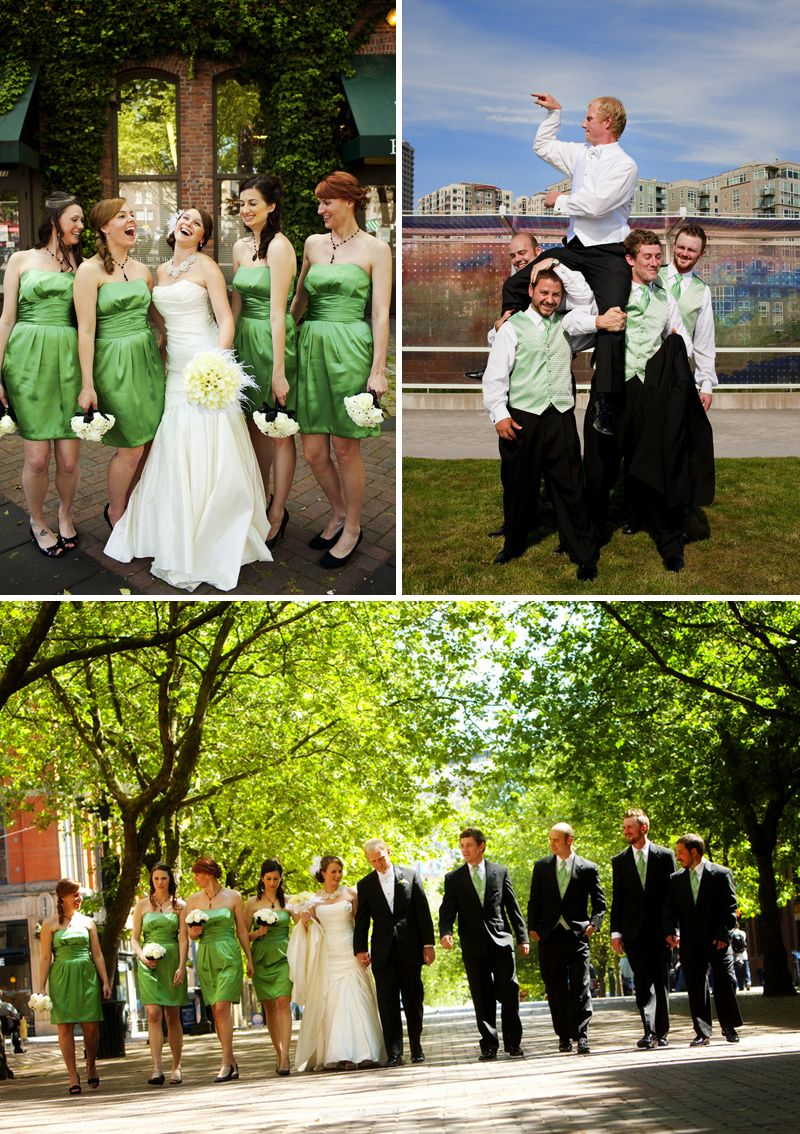 Green Black And White Seattle Wedding