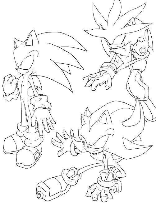 Sonic Shadow And Knuckles Coloring Pages