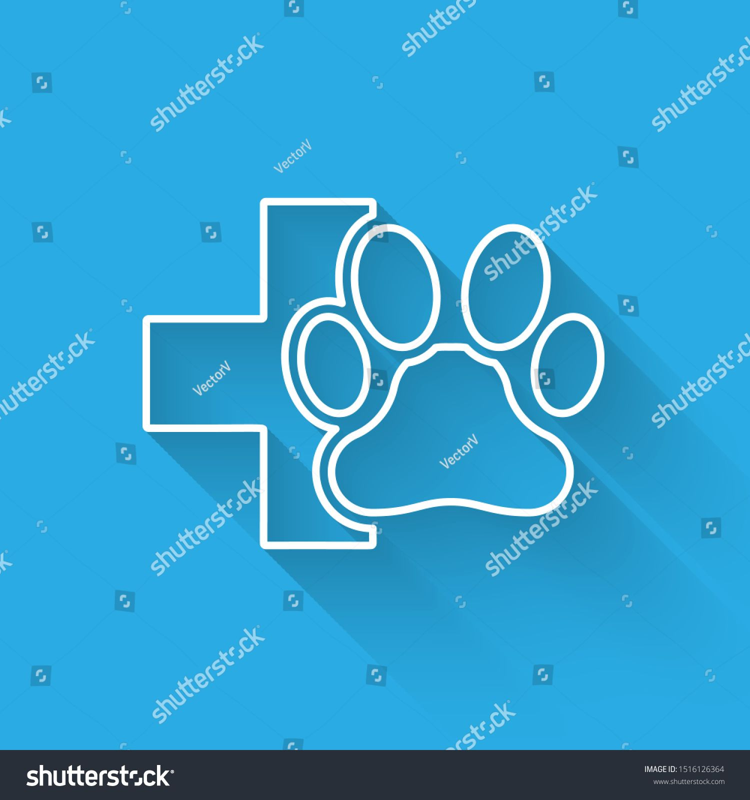 White Veterinary clinic symbol line icon isolated with