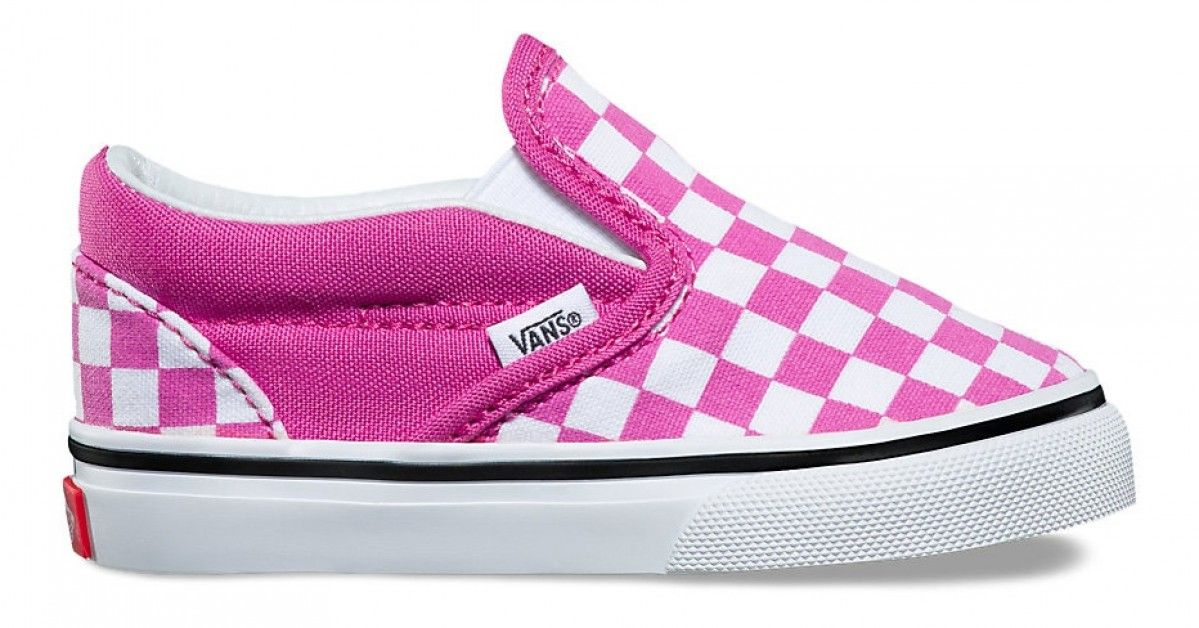 b575e4d06d Vans Kids Classic Slip-On (Checkerboard) Raspberry Rose True White in 2019
