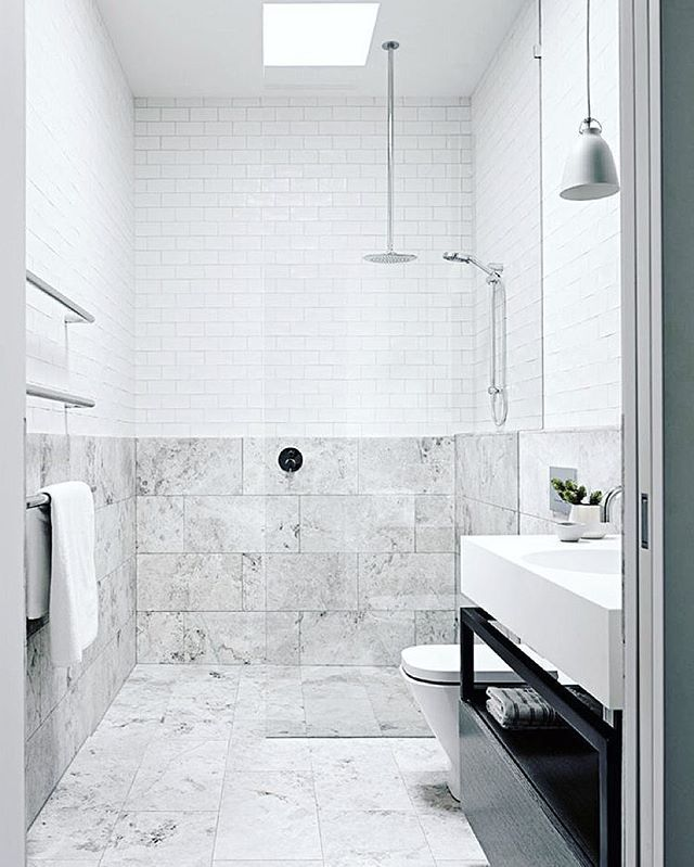 Combination of marble and white tiles. Nice i think . Look at The ...