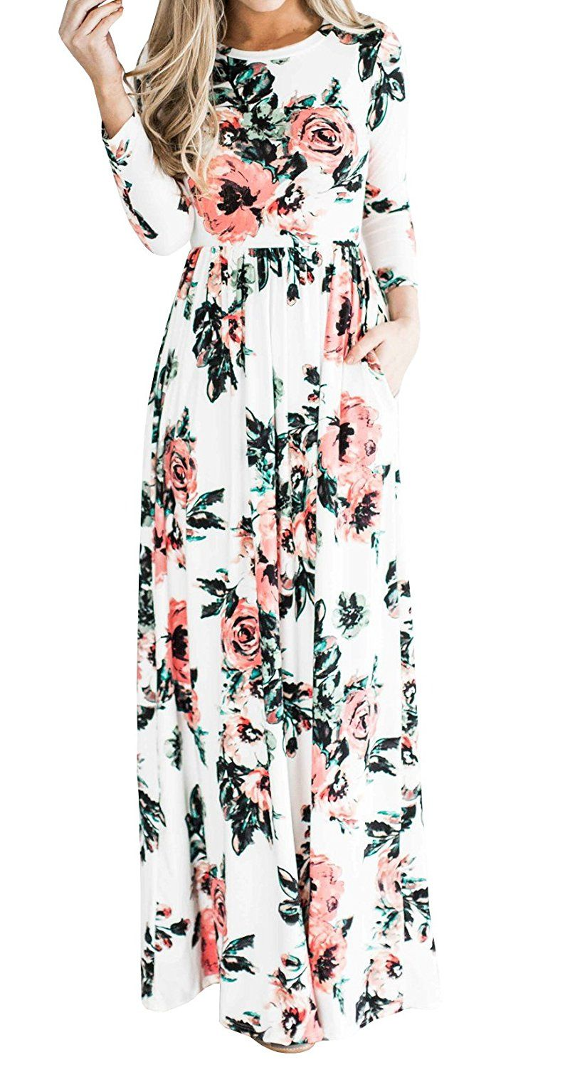 36bfa2294dc1 Floral Printed Retro Vintage Long Dress, YONYWA Women's 3/4 Sleeve Spring Flower  Casual