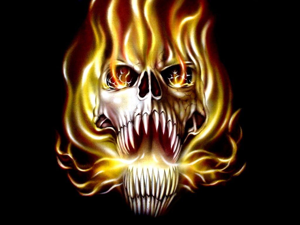 Fire Flame Skull Evil 1024x768