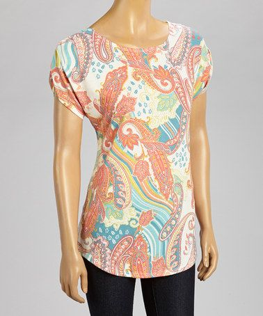Love this Orange & Ivory Paisley Ravel Scoop Neck Top by Nomadic Traders on #zulily! #zulilyfinds
