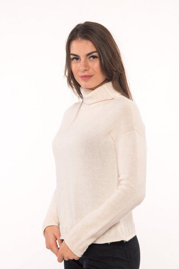 7cf901c0f67 Natural white milk turtleneck sweater for women, knitted merino high ...