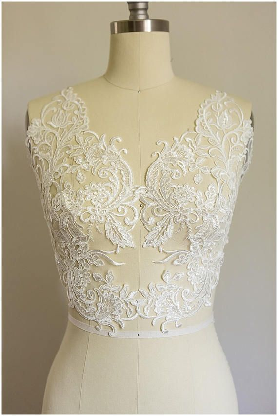 2x Large Off White Mirrored Lace Flower Appliqué Lace
