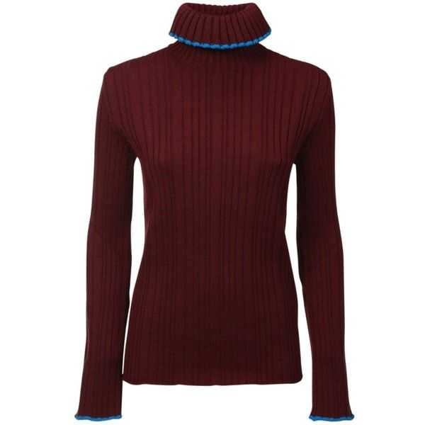 Msgm Ruffle Turtleneck Sweater (285 CHF) ❤ liked on Polyvore featuring tops, sweaters, turtleneck top, collared sweater, maroon sweater, red sweater and red turtleneck