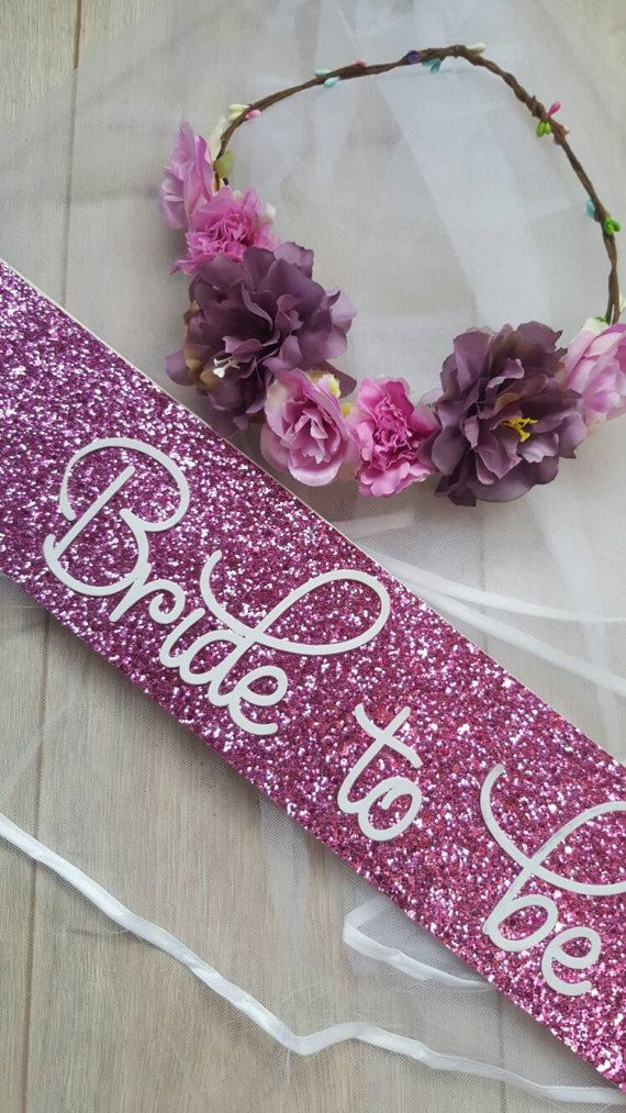 Sparkly Pink Bride To Be Necklace Glittery Hen Party Night Do Bridal Shower Girl