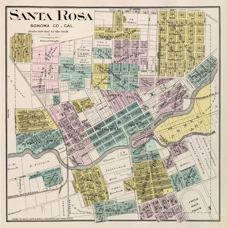 Antique Santa Rosa California city map Print 16 x 16 2600