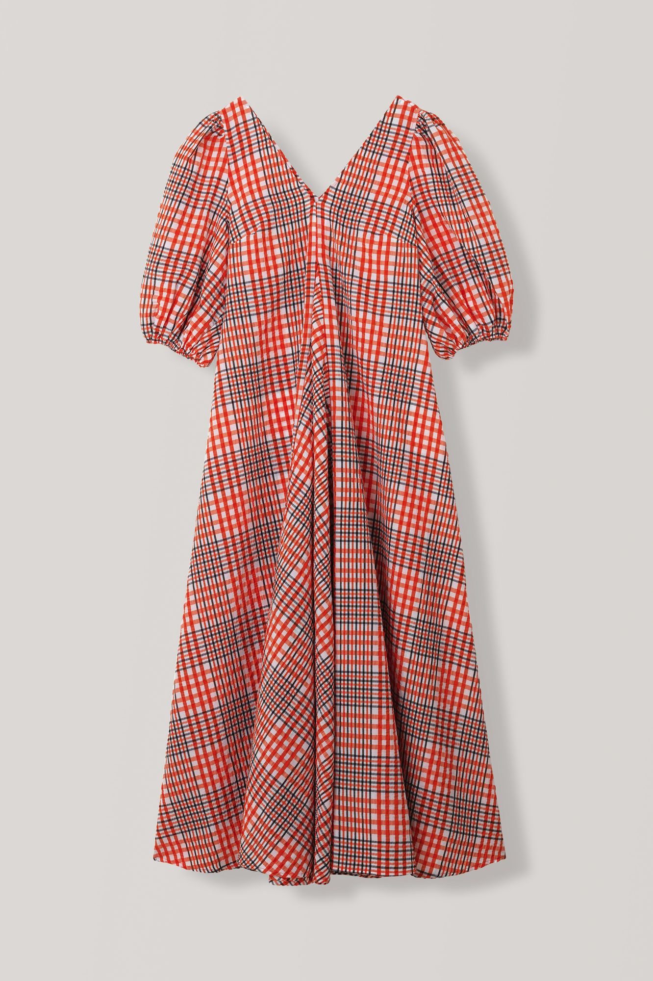 ganni seersucker check maxi dress red