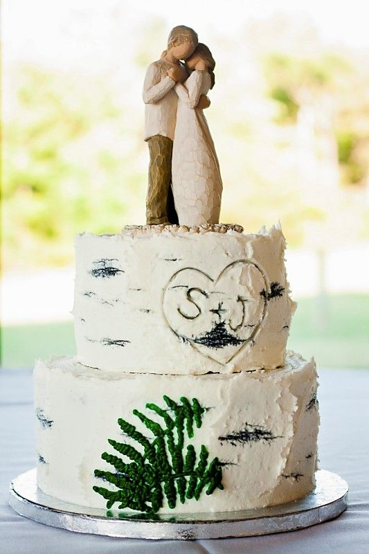 birch tree styled wedding cake Celebrate Me Weddings