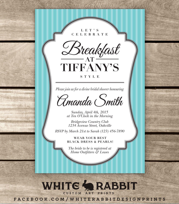 Bridal Shower Invite, Breakfast at Tiffany\'s, Classic Bridal Shower ...
