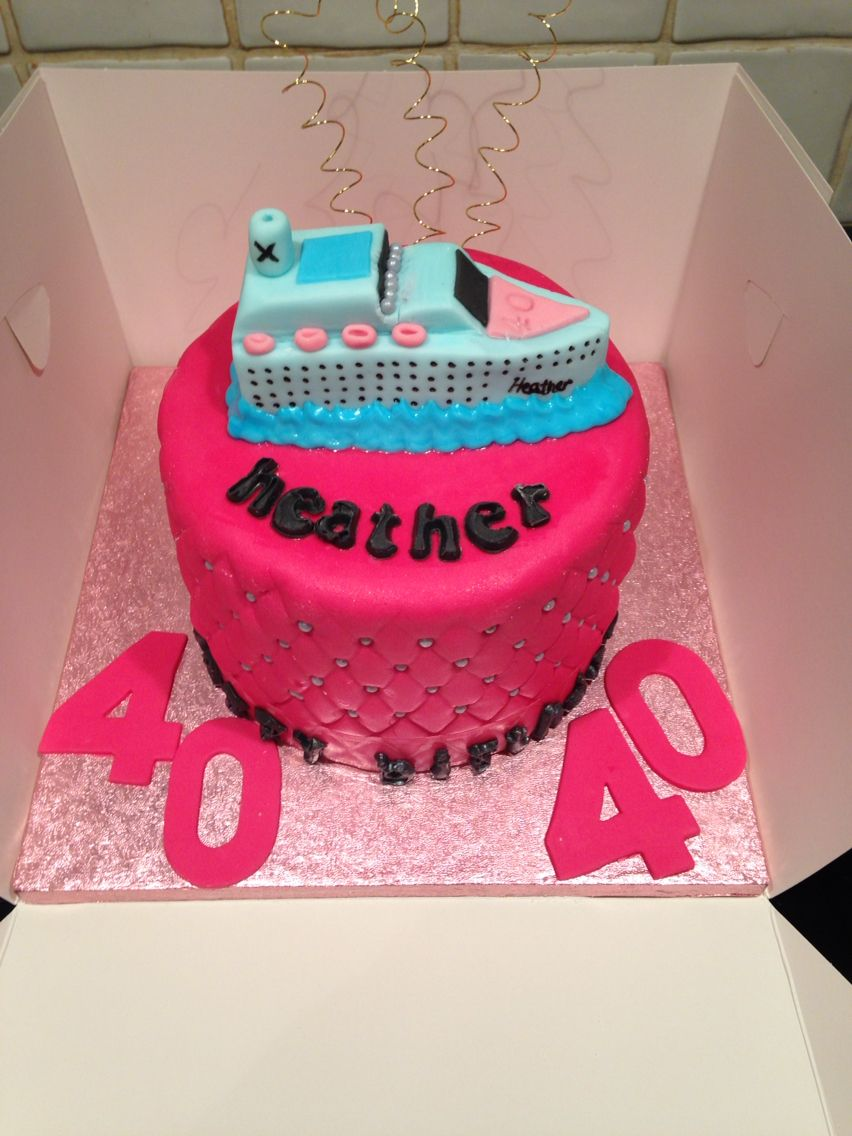 Cruise Ship Birthday Cake with quilted sides very pink Cruise