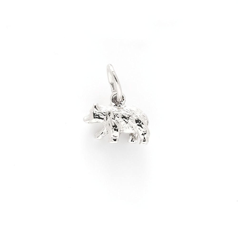 Black bear small charm in k white gold charms for bracelets and