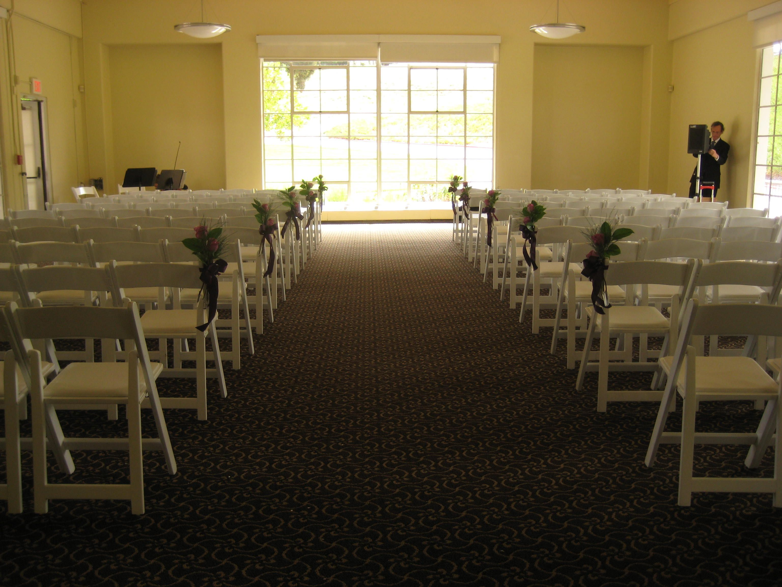 White Wood Folding Chairs In The Cypress Room At Golden Gate Club