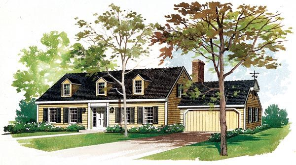 Cape cod house plan 95103 elevation colonial and capes Cape dormer plans