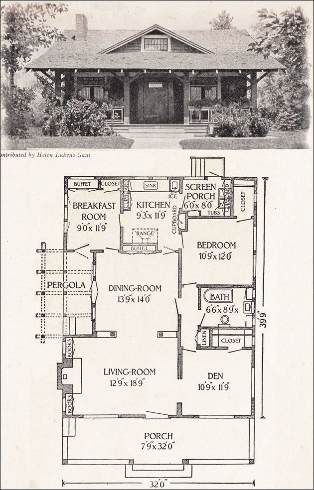 1916 California Bungalow - 1200 sq. ft. - Helen Lukens Gaut - Old ...