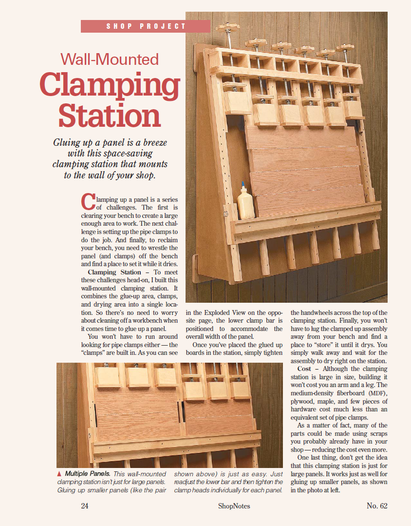 wall mounted clamping station shopnotes magazine no 062 page 24