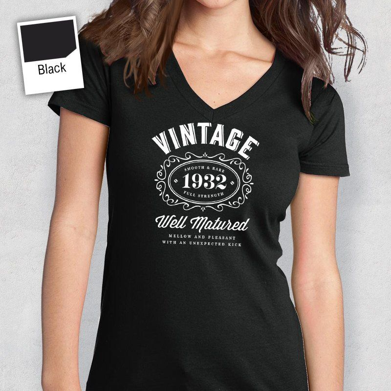 85th Birthday Womens V Neck Idea Present Or Gift 1932 For The Lucky 85 Year Old
