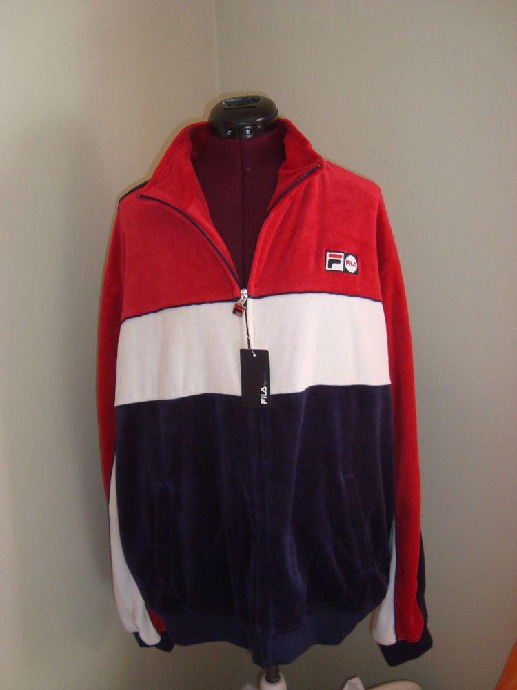 c64a69eb New Fila Men's Sz XL Red White & Blue Velour Athletic Jacket Zip Up ...