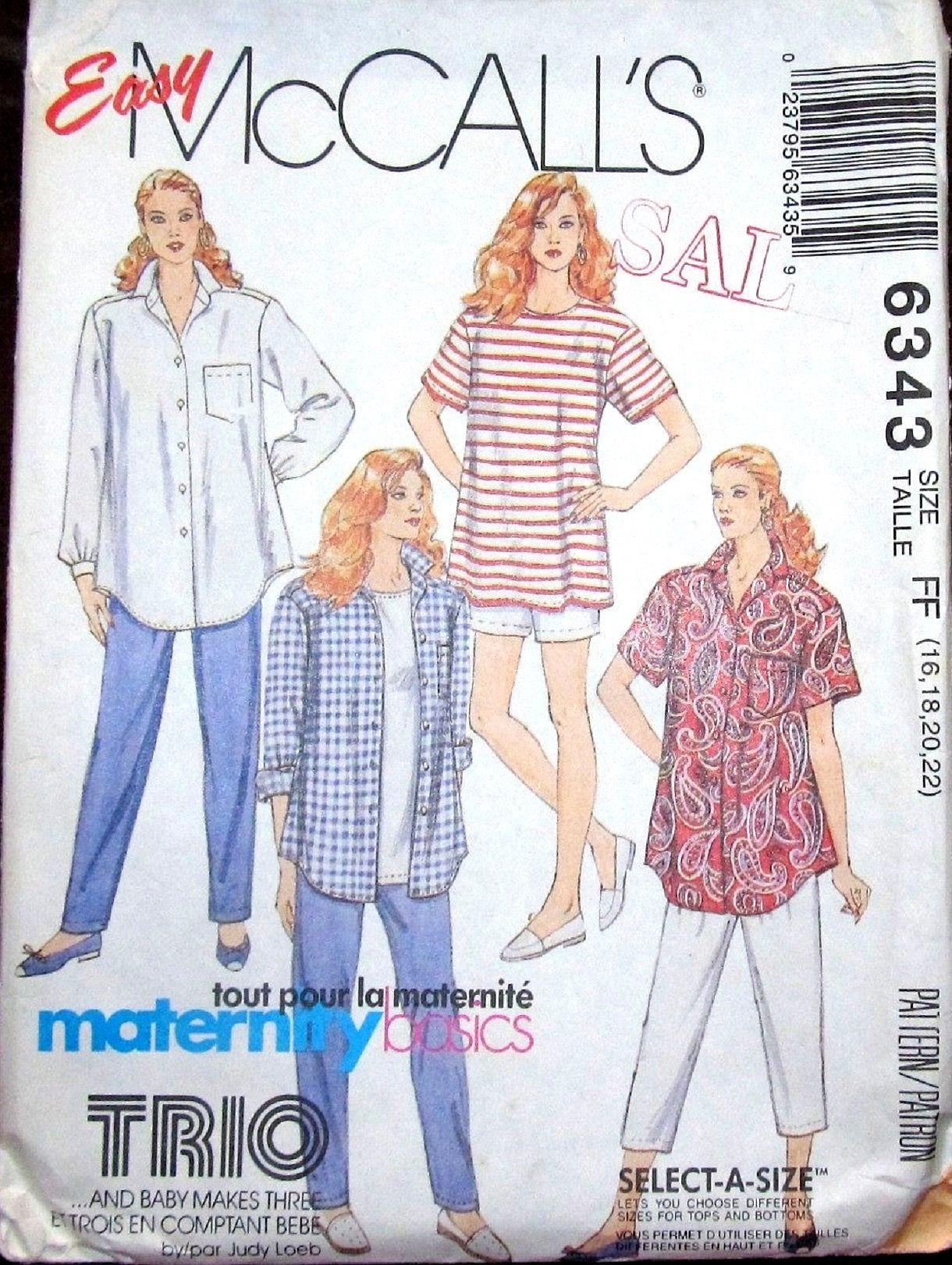 Easy vintage sewing pattern mccalls 6343 maternity top shirt easy vintage sewing pattern mccalls 6343 maternity top shirt pants capris shorts women miss plus size jeuxipadfo Choice Image