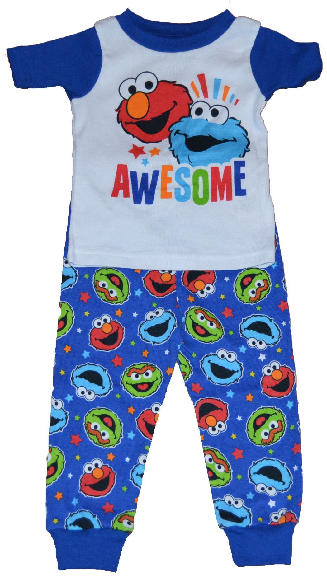 851f4a25c Sesame Street Awesome Elmo Cookie Monster Boy Baby Toddler Pajamas +  Stickers