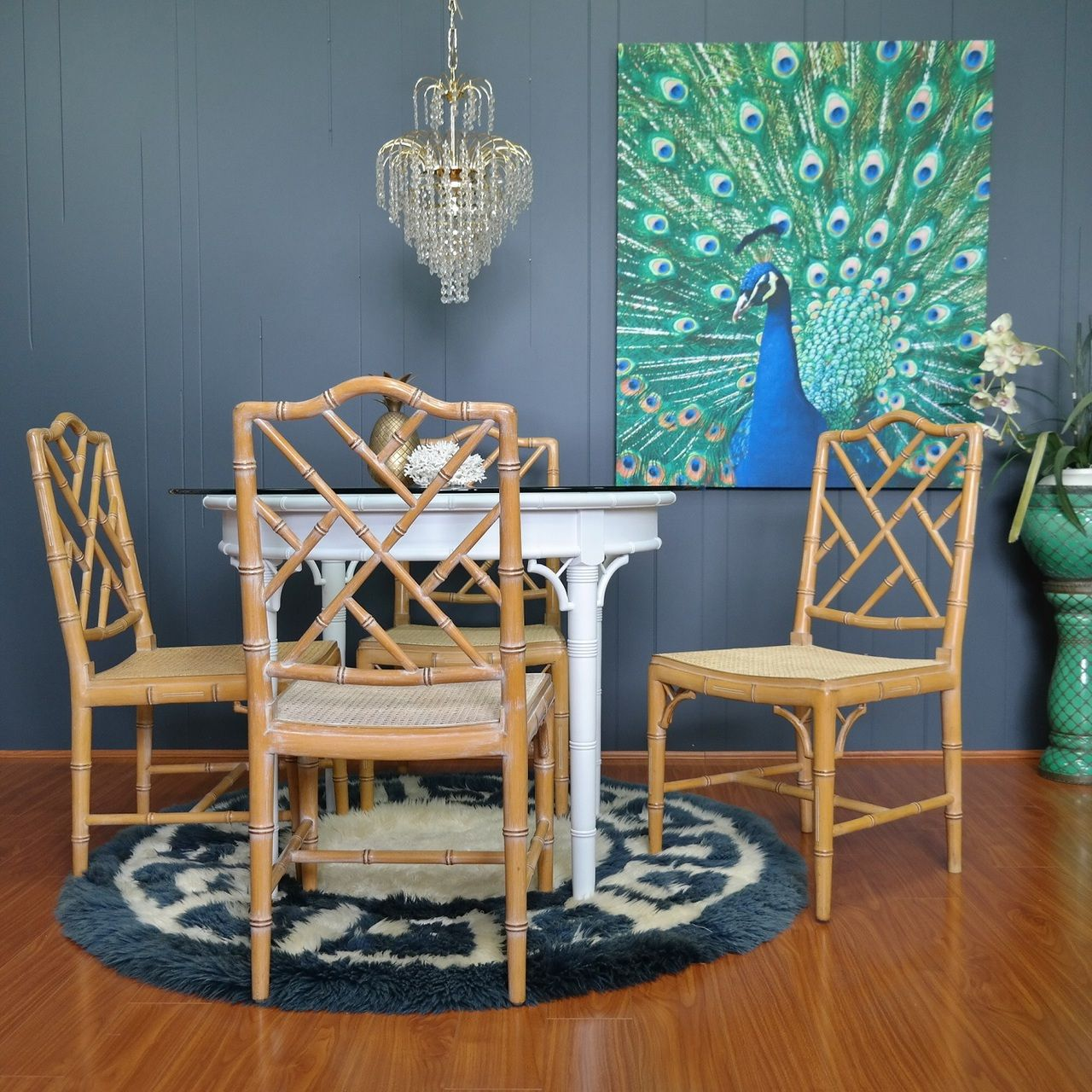 1970s Vintage Faux Bamboo Dining Chairs Set Of 4 Gold Label