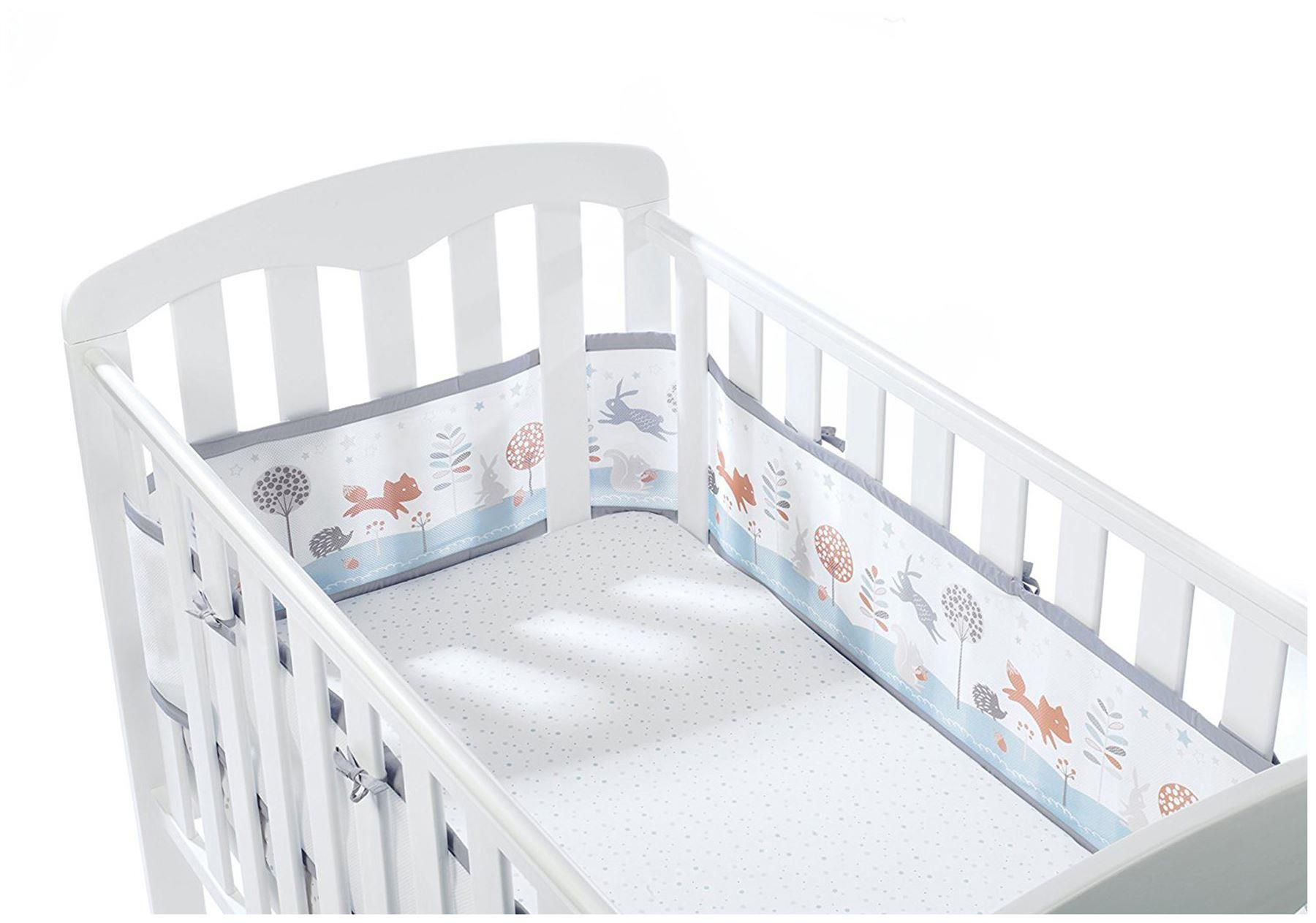 White Airwrap Mesh Cot Protector Crib//Cot//Cotbed Breathable Bumper 4 Sided
