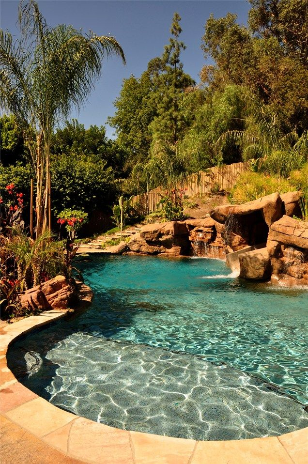 pool with beautiful landscaping and natural features on attractive tropical landscaping ideas id=16792
